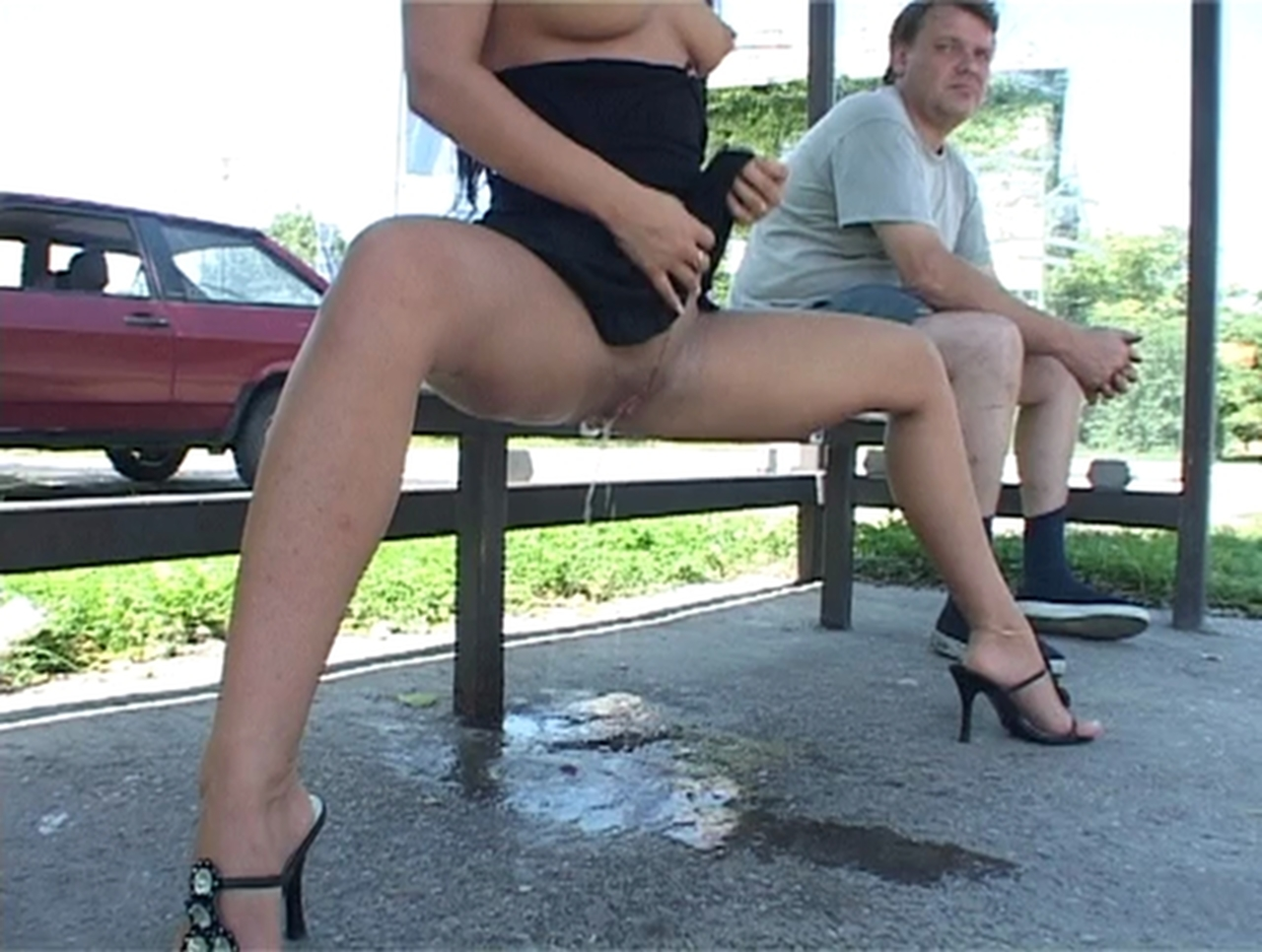 Girls pissing in public