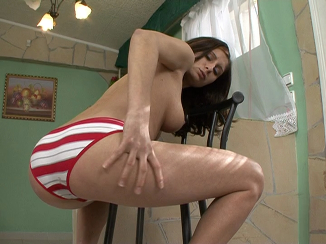 A brunette girl shit in her panty in an apartment. In the first scene she  put a really lot of feces to her panty, all her ass gets covered in creamy  shit, ...