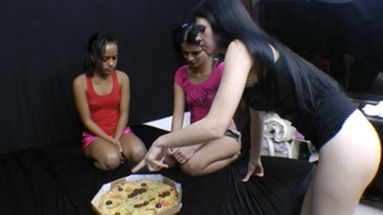 SCAT INTO MOUTH / Scat Pizza Real Swallow With 2 Slaves