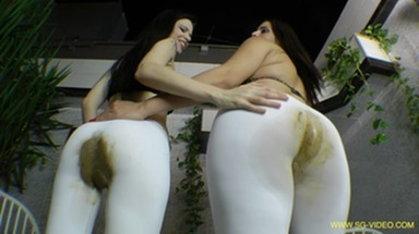 SCAT INTO MOUTH / Scat Domination White Scat Pants - 2 Domina 1 Slave